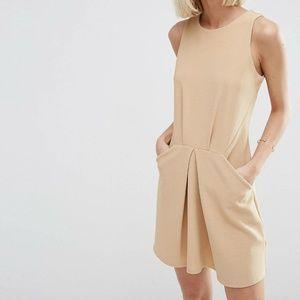 NWT Asos Tan Sleeveless Mini Dress with Pockets